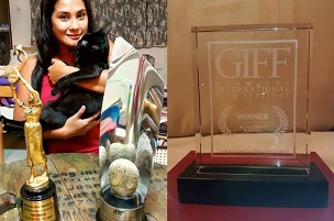 Sue Prado and (right) the Achievement in Acting Award she won at the Guam International Film Festival on Sunday. (Photos from the Facebook of 'The Sister' producer Ferdinand Lapuz)